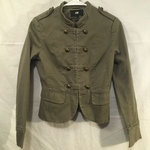 H&M Military Style Olive Green Jacket Size 4